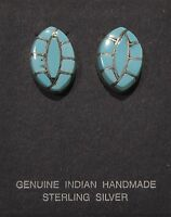 Native American Jewelry - Zuni - Earrings - Turquoise signed RVB