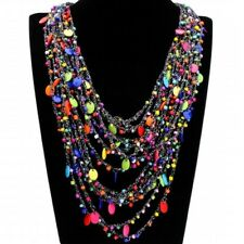 Fashion Cotton Rope Chain Multi-Color Resin Beads Collar Pendant Bib Necklace