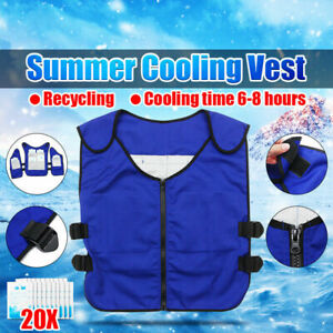 Ice Pack Cooling Vest Outdoor Adjustable Waist Anti High Temperature + 20 Bags