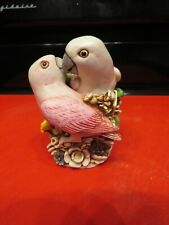 "Harmony Kingdom ""Love Nest"" For Bird Lovers; Beautiful Pink Lovebirds, 1998"