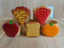 NAPKIN RINGS Set of 5 FOOD ACCENTS Wood Pie Toast Apple Orange