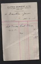 1951. Alpha Cement Ltd. Tothill Street, London. Invoice.   fa.79