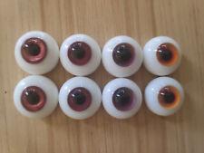 wholsale 4 pair of flatback (pink&brown&orange&purple) 20mm Glass BJD Eyes