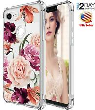 Google Pixel 3 XL Case ShockProof TPU Slim Clear Floral Pattern Rose Cover
