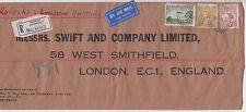Stamps Australia 1934 Swift & Co Ltd Brisbane cover via Karachi to England