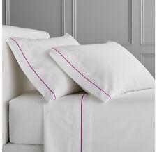 WhiteColor 400ThreadCount Satee Bed Twin XL Size Sheet Set Magenta Marrow Border