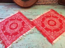 Pair Antique Woven Cotton Turkey Red Napkin Candle Mat Fringed Doily 11""