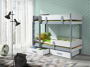 Bunk Bed ELLA 2 with Mattresses KIDS BEDROOM FURNITURE Solid Wood Many Colours