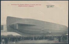 ZEPPELIN AIRSHIP PARKED W/ BIPLANE APRIL 1913 USED POSTCARD; LIGHT BEND BS2506