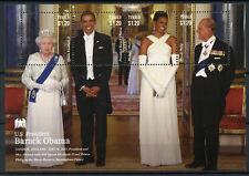 Tuvalu 2013 MNH US President Barack Obama Queen Elizabeth II 4v M/S I Stamps