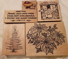 5 Christmas EMBOSSING ARTS Rubber Stamps Poinsettias, Tree, Nativity, More RS5