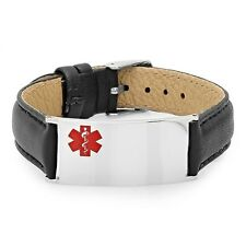 Medical ID Bracelet Stainless Steel with Black Leather- Free engraving
