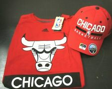 Adidas Chicago Bulls NBA Mens T Shirt and Hat Combo Red Black Size XL NWT NR