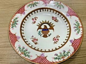 """19th C Chinese Export Eagle Crest Armorial 8"""" Plate Bowl Americana Pink Border"""