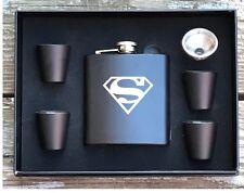 Superman Inspired 6 Piece Flask Set Great Groomsman Best Man Usher Wedding Gift