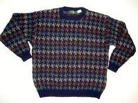 Mens Orvis Wool Sweater XL Navy Green Tan Brown Jumper Houndstooth Neutral