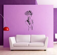 Wall Stickers Female Girl Woman Flowers for Bedroom  z1309