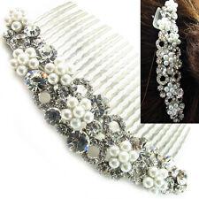 USA Hair Comb vintage Crystal Handmade Bridal wedding prom pearl pin silver 09