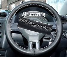 FOR MERCEDES E CLASS 95-99 ITALIAN LEATHER STEERING WHEEL COVER WHITE STITCH