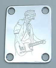 Engraved Etched GUITAR NECK PLATE Fender Size - KEITH RICHARDS Rolling Stones