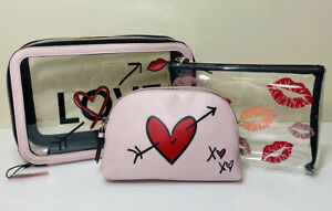 NWT Victorias Secret 3 Piece Makeup Cosmetic Travel Bag Set