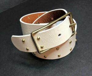 Fossil Womens S Studded Jean Coconut Ivory Leather Western Boho Belt BT4265146S
