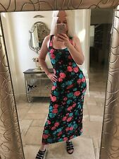 Ambiance S 4 6 maxi dress floral long tank sleeveless summer blue pink Roses