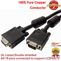 Premium VGA Monitor Cable with Ferrites Connects PC or Laptop in Black