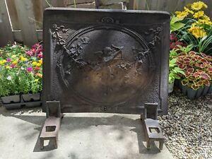 Antique Cast Iron Cupid Fireplace Summer Cover Fireback plus Iron Display Stands
