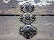 3 VTG Old Antique Ornate BEADED Metal RUSTIC Pull Handle Drawer Chest Desk