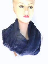 Echarpe SNOOD Fourrure Polaire 2 Tours de cou Bleu  160 cm mode Femme