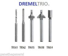 NEW DREMEL TRIO ROUTER AND CUTTING BITS TR561, TR562, TR615, TR618, TR654 5 SET