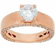 DIAMONIQUE 14K ROSE GOLD-PLATED STERLING SILVER 2.25CT SOLITAIRE RING SIZE 8 QVC