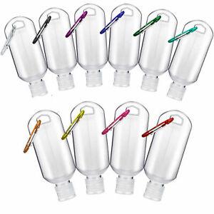 20 Empty plastic bottles , With Keyring , Travel Sanitiser Bottle 50ml