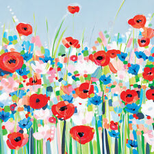 Janet Bell - Cornflowers & Poppies - Ready Framed Canvas 40x40cm