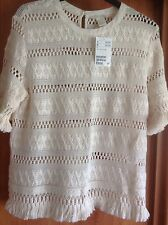 Ladies Stunning Short Sleeve Cream Lacy Crochet Jumper/Top Size 16  H&M NWT