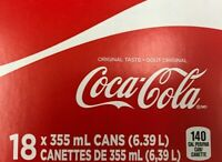18 CANS OF COCA COLA CANADIAN POP (1 CASE) 18x355ml
