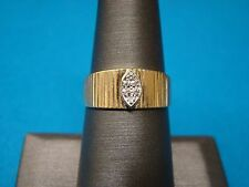 14kt Yellow Gold Diamond Wide Band Fashion Ring Size 7.75  7 3/4