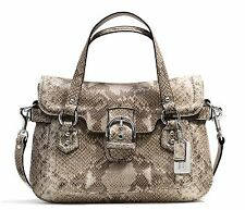 Nwt $498 Coach Campbell Exotic Leather Small Flap Satchel Bag F27895 ~Gray