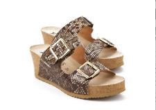 Mephisto Lenia Brown Reptilia Wedge Comfort Sandal Women's Sizes 36-40 NEW