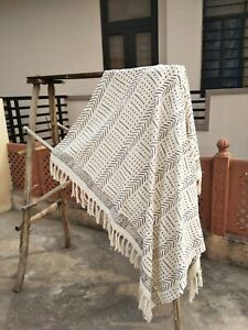 Indian Cotton Mud Cloth With Tassels Bohemian Throws Blanket Indian Chair Decor