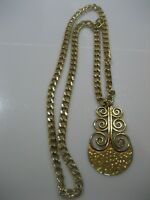 ESTATE VINTAGE SIGNED YSL LARGE GOLD TONE HEAVY CHAIN PENDULUM SWIRL NECKLACE