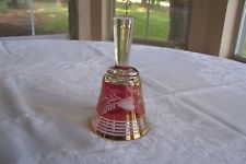 Vintage Paracin Yugoslavia Cut Glass Bell ~ Red with Gold Trim and Label