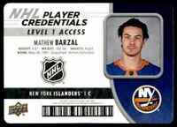 2018-19 Upper Deck MVP NHL Player Credentials Level 1 Access Mathew Barzal