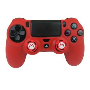 Silicone Grip Red Shell Cover + 2 Multi Thumb Grips For PS4 Controller