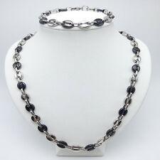 collier et bracelet    grose graine café  en acier inoxydable argenté et noir