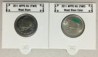 CANADA 2011 New 2 x 25 cent Wood Bison NO COLOR and COLOR (BU From roll)