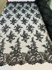 Black Lace Fabric Corded Flower Embroider With Sequins On Mesh Fabric By Yard