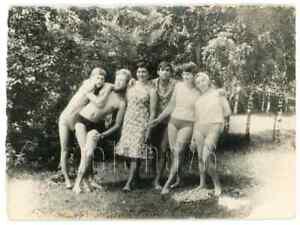 1970s Young Woman Guys Seminude Bare Legs Torso Close Touch Bulge Russian photo