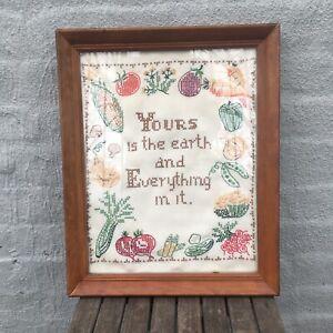 """Vintage Hand Embroidered Cross Stitch Sampler-Vegetables; 13x16""""wood framed $54"""